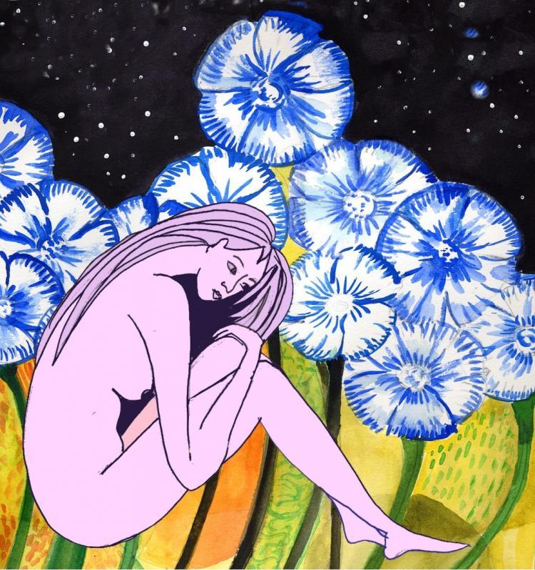 Femme fleurs bleues2